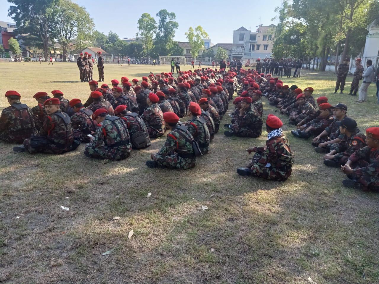 Piket Koramil 03/Serengan Monitoring Apel KOKAM di Lapangan Kartopuran