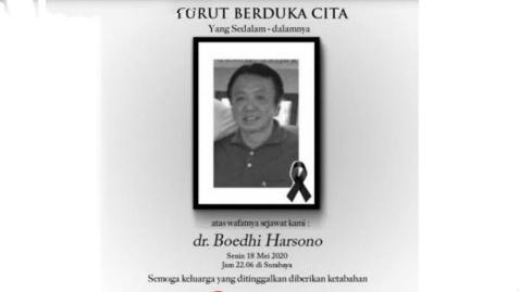 Pasutri Positif COVID-19, Dokter Boedhi Dikabarkan Meninggal dan Sang Istri Kritis di Surabaya