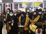 Jemaah umrah asal Indonesia saat berada di bandara Soekarno Hatta, Tangerang.
