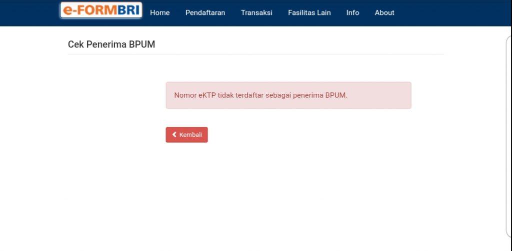 Screenshot hasil cek data. Dengan hasil bukan penerima bantuan. (Sumber: https://eform.bri.co.id/bpum).