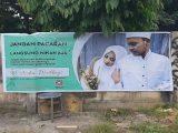 Tangkapan layar spanduk berisi iklan wedding organizer, Aisha Wedding.(Sumber: Twitter/@Sweta Kartika).
