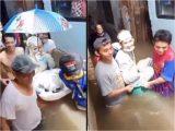 Cuplikan video viral menikah di tengah banjir. (Sumber: Twitter/@Windysatria)