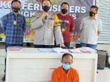 Polres Musi Banyuasin melakukan gelar perkara aksi perampokan disertai pemerkosaan yang menimpa pasangan suami istri inisial GS dan AS, Minggu (16/5/2021). (Sumber: KOMPAS.com).