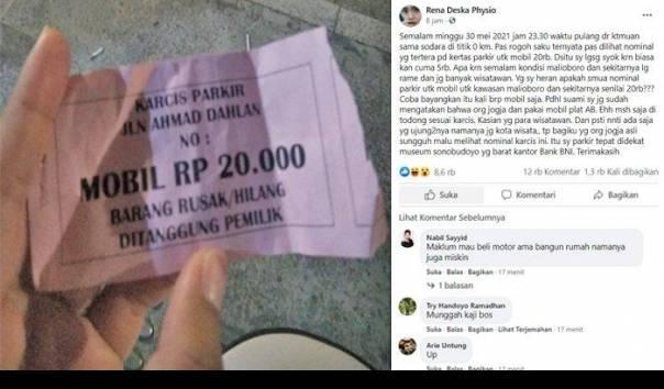 Postingan viral seorang wisatawan yang mengeluhkan biaya parkir di Malioboro senilai Rp20 ribu. (Sumber: https://www.facebook.com/groups/info.cegatan.jogja)