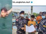 TNI menyelamatkan seorang anak yang terombang ambing di tengah laut (Sumber: Istagram).