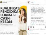 Formasi CPNS 2021 Kementerian ESDM (Sumber: Instagram).
