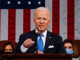 Presiden Amerika Serikat Joe Biden saat berpidato di sesi kongres gabungan di Washington DC, pada 28 April 2021.(POOL/MELINA MARA via XINHUA).